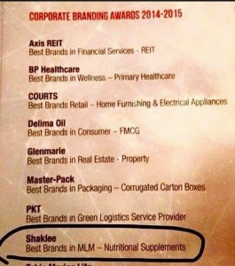 Shaklee memenangi anugerah Best Brands in MLM (Nutritional Supplements) pada tahun 2014