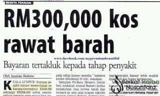 Kos Rawatan Kanser mencapai rm300 ribu