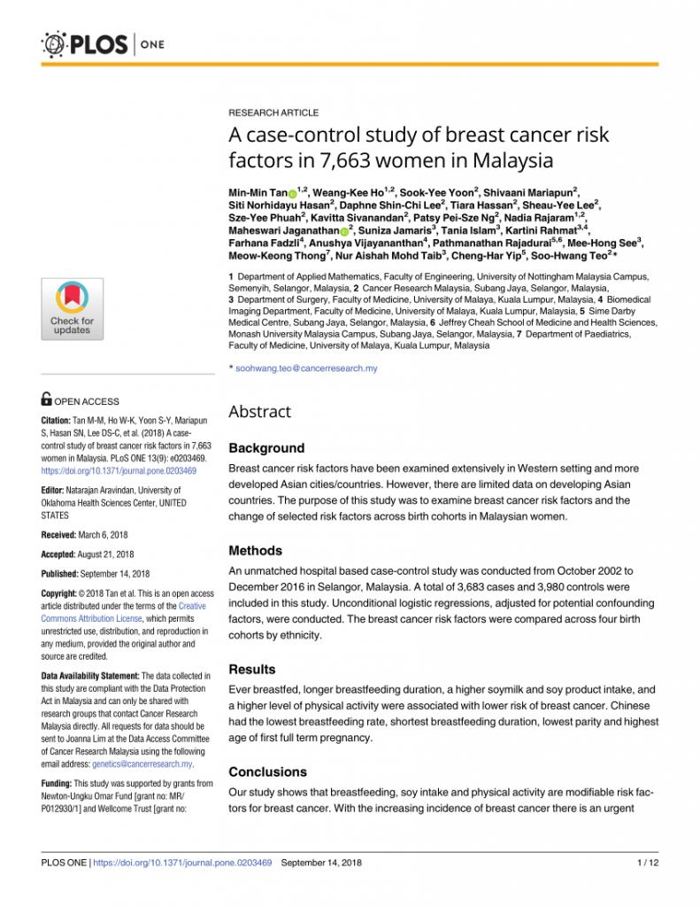 Kajian tentang kebaikan soya untuk mencegah kanser payudara di kalangan wanita Malaysia