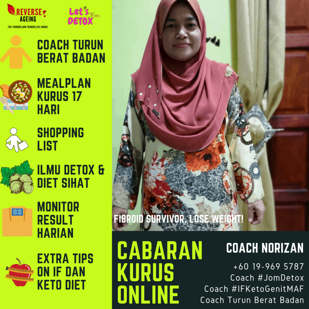 Sebagai fibroid / cysts survivor, Coach Norizan memiliki banyak pengalaman dalam masalah fibroid dan obesiti.