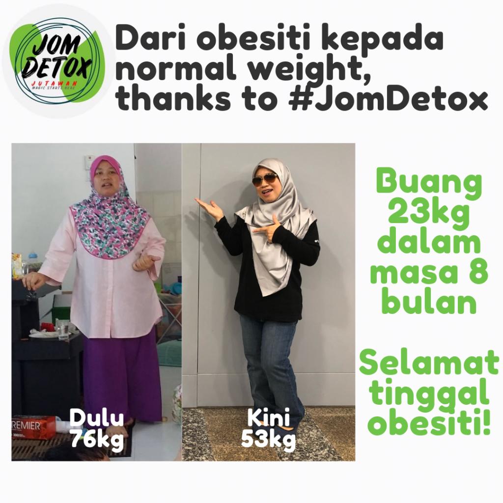 Saya berjaya turunkan 23kg dalam masa 9 bulan. Program detox Shaklee memang terbaik