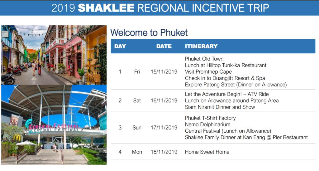 Itinerary Trip Mewah Shaklee Phuket 2019