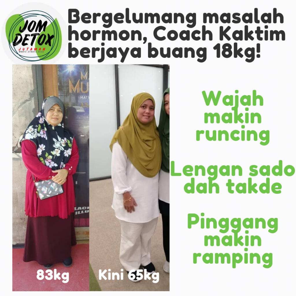 Coach Fatimah berjaya turun 18kg, beliau ada masalah cyst dan hormon