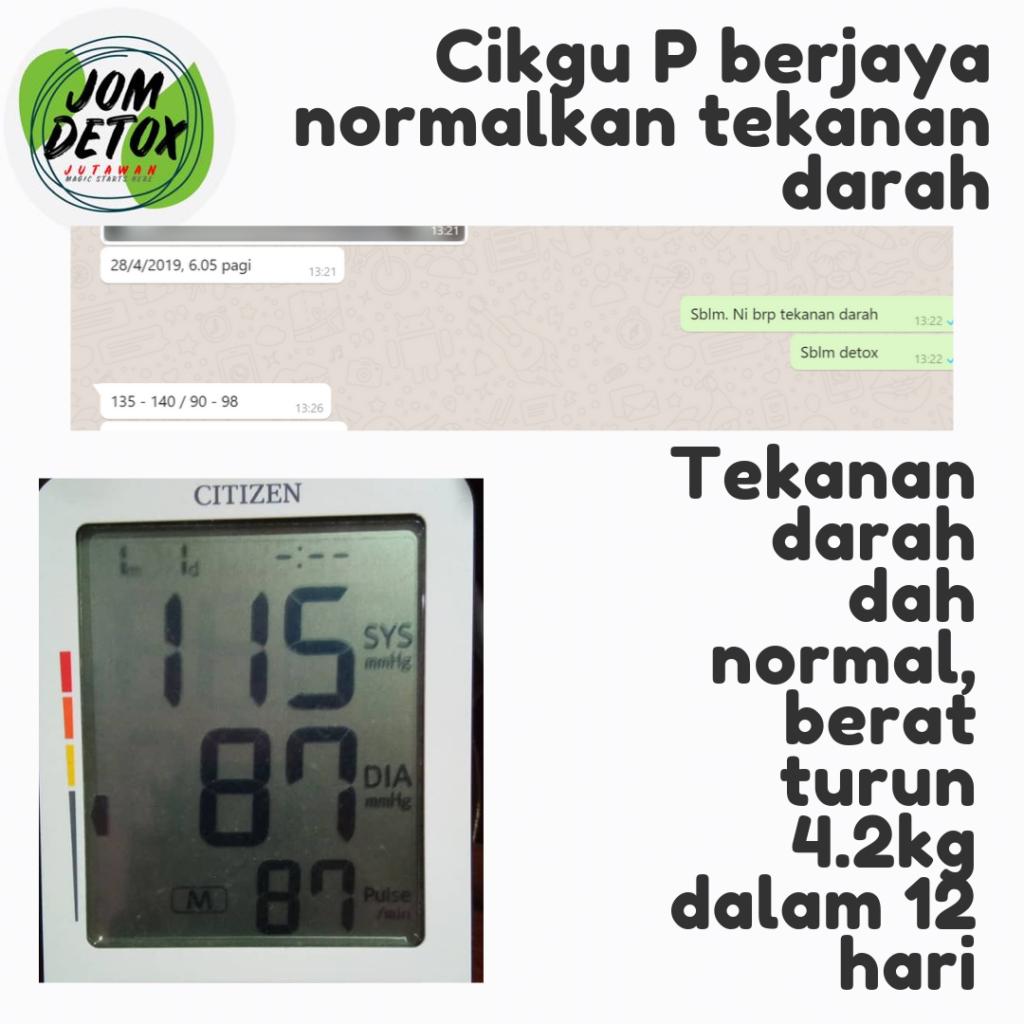 Cikgu P berjaya normalkan tekanan darah dalam masa 12 hari
