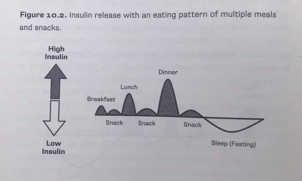 Kajian menunjukkan bila makan dengan kerap, insulin akan sentiasa tinggi. Anda sukar kurus, dan tinggi risiko dapat diabetes