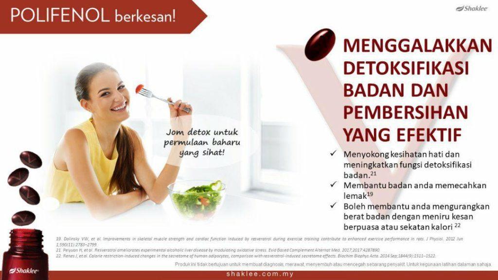 ResV mendorong proses detoksifikasi tubuh dan seterusnya membantu menguruskan dan menyihatkan badan