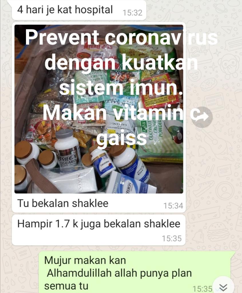 Selalu amalkan suplemen Shaklee, asbab sistem badan sihat dan kuat, boleh bantu cegah wabak Corona Virus 2019-nCoV