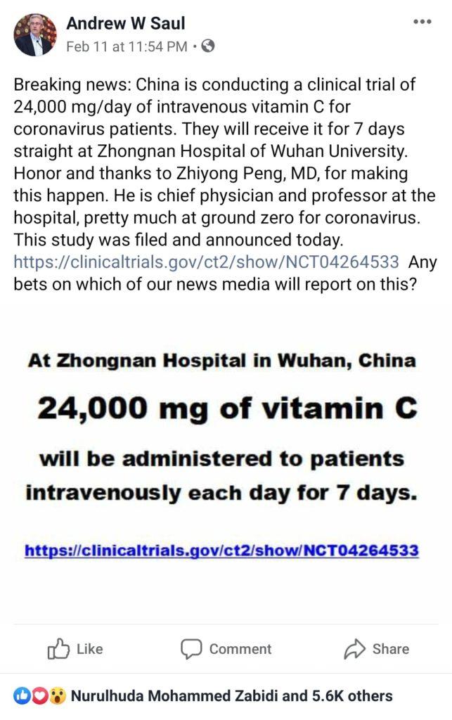 Kajian klinikal dilakukan di Wuhan untuk rawatan corona virus menggunakan vitamin c