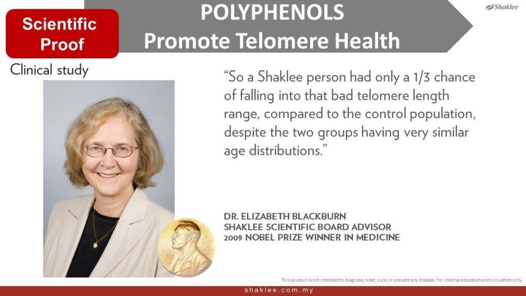 Dr Blackburn adalah pemenang anugerah nobel yang mengakui kebaikan polifenol Shaklee