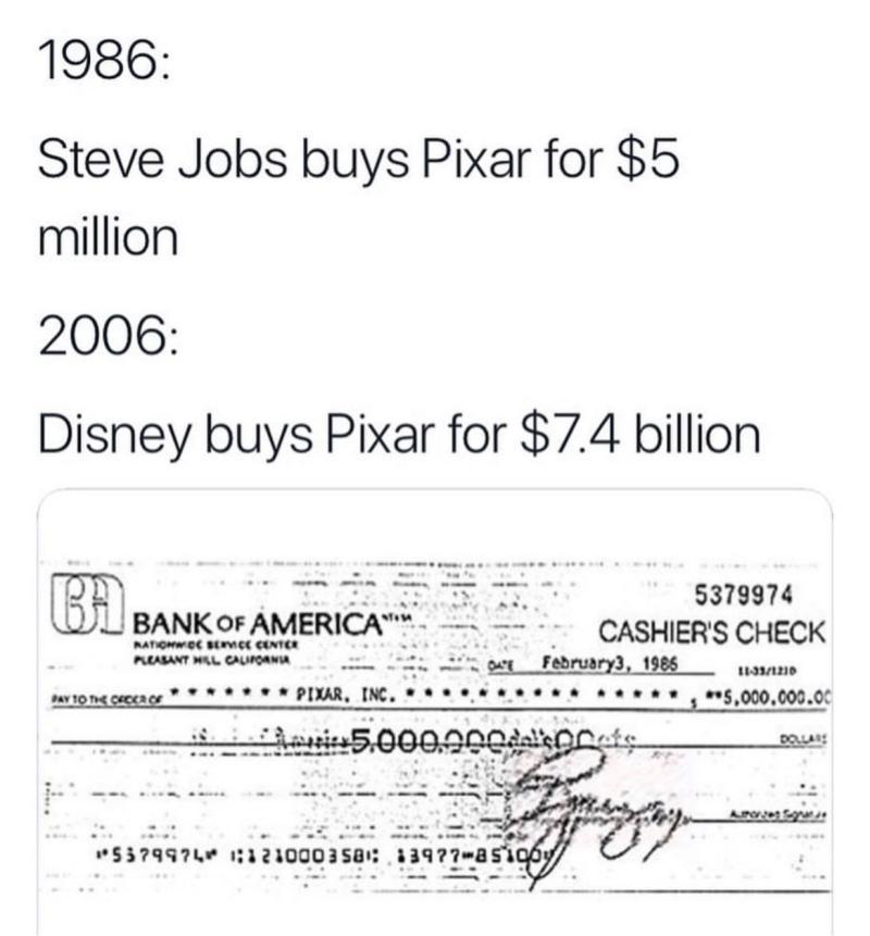 Steve Jobs menjadi jutawan selepas menjual Pixar