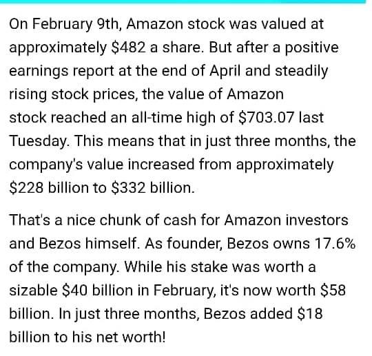 April 2020, Kekayaan Jeff Bezos bertambah