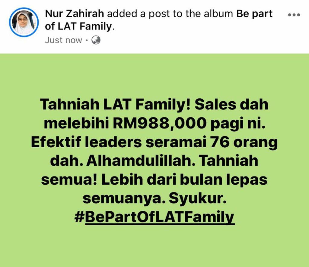 Total Sales Team Lebih rm1juta
