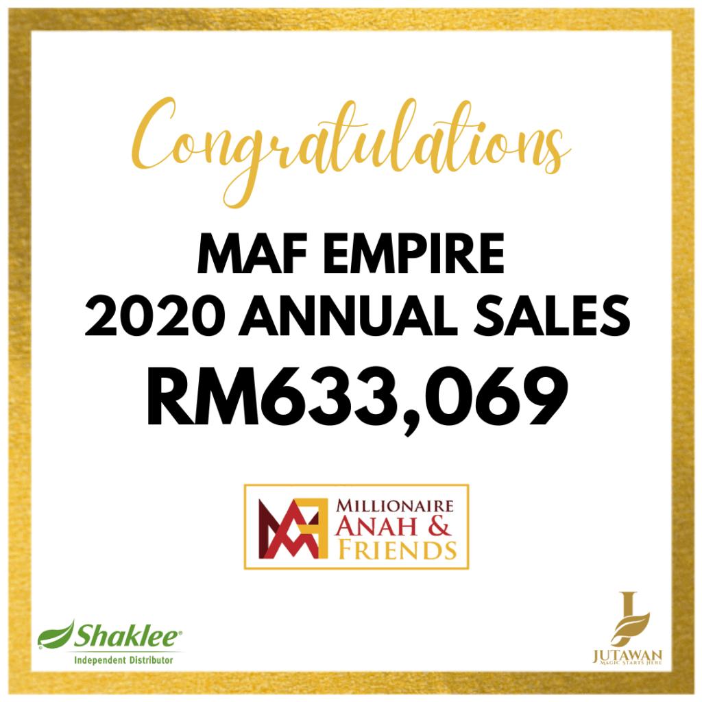 Sales Tahun 2020 MAF Empire hampir rm1juta